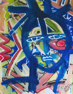 Colorful Face 2014 20x16 Original Painting - Neith Nevelson
