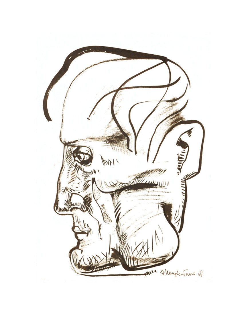 Profile of a Man Drawing 1968 26x21 Works on Paper (not prints) by Ernst Neizvestny