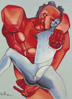 Pygmalion and Galatea 1988 Original Painting - Ernst Neizvestny
