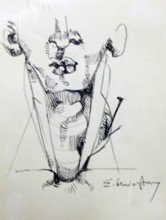Nail in Neck 1986 Drawing by Ernst Neizvestny