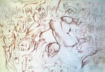 Strange Births Drawing 1967 24x30 Drawing by Ernst Neizvestny