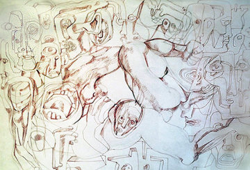 Strange Births Drawing 1967 24x30 Drawing - Ernst Neizvestny