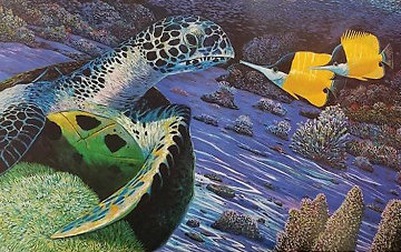 Turtle And the Butterfly 1988 Limited Edition Print by Robert Lyn Nelson