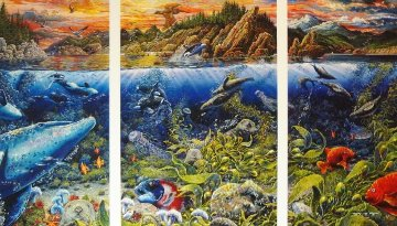 Underwater World Triptych  Limited Edition Print - Robert Lyn Nelson