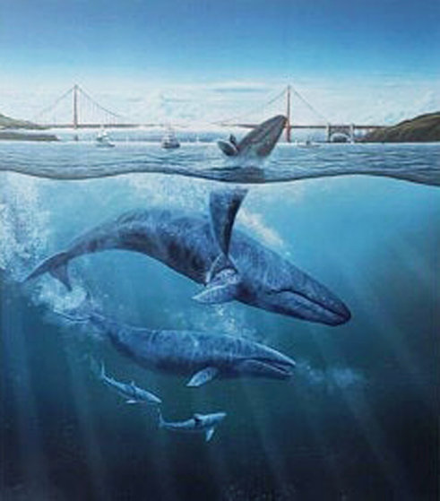Bridge With 4 Whales,  1990,  With Remarque Limited Edition Print by Robert Lyn Nelson