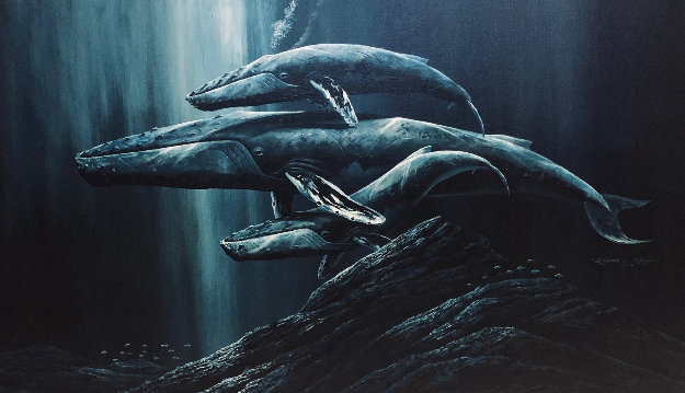 Untitled (Whales) 1979 32x56 Original Painting by Robert Lyn Nelson