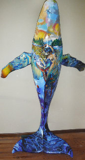 Whales on Parade  2002   One of a Kind Acrylic Painting on Fiberglass Whale 90x60 Inches Original Painting - Robert Lyn Nelson