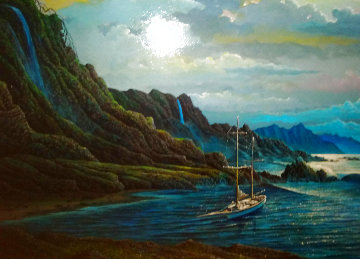 Safe Harbor 1982 26x28 Original Painting - Robert Lyn Nelson