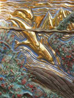 Untitled Dolphin Bas Relief Sculpture 24x18 Sculpture - Robert Lyn Nelson