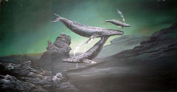 Untitled Whales Painting 1979 18x36 Original Painting - Robert Lyn Nelson