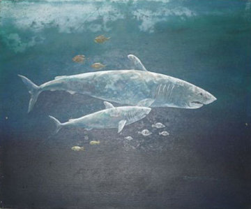 Untitled Sharks Painting (early work) 20x24 Original Painting by Robert Lyn Nelson