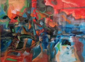 Poincianas Near the Sea 21x29 Original Painting - Robert Lyn Nelson
