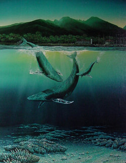 Whale Family of 3 Lahaina in Background Works on Paper (not prints) - Robert Lyn Nelson