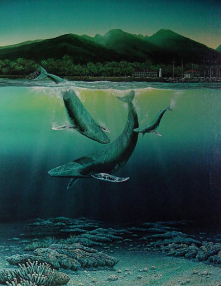 Whale Family of 3 Lahaina in Background Works on Paper (not prints) by Robert Lyn Nelson