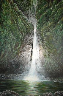 Sacred Falls, Hawaii 1975 40x28 Original Painting - Robert Lyn Nelson