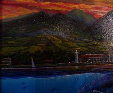 Romance of Lahaina, Maui 1994 28x28 Original Painting - Robert Lyn Nelson