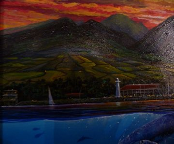 Romance of Lahaina, Maui 1994 28x28 Original Painting by Robert Lyn Nelson