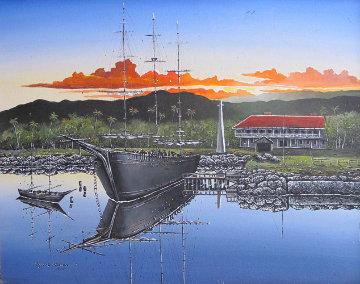 Carthagrnian Sunrise 1973 (Lahaina, Maui 1900) 24x30 Original Painting - Robert Lyn Nelson
