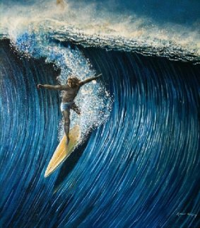 North Shore Surfer 1977 28x34 Original Painting - Robert Lyn Nelson
