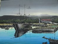 Lahaina Harbor Front 1970 24x30 Original Painting by Robert Lyn Nelson - 1