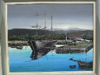 Lahaina Harbor Front 1970 24x30 Original Painting by Robert Lyn Nelson - 2