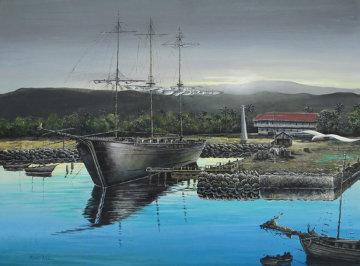 Lahaina Harbor Front 1970 Original Painting - Robert Lyn Nelson