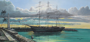 Whaling Ship 1976 17x29 Original Painting - Robert Lyn Nelson