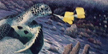 Butterfly And Turtle 1990 With Remarque Limited Edition Print - Robert Lyn Nelson