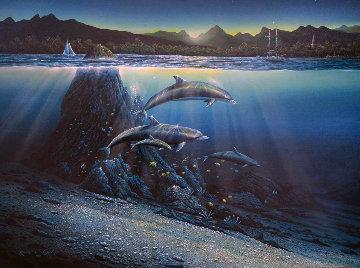 Kona Dawn 1981 53x40 Original Painting - Robert Lyn Nelson