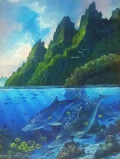 Near the Reef 1991 22x25 Original Painting - Robert Lyn Nelson