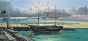 Whaling Ship, and Lahaina Harbor Front, 2 Paintings  1976 Original Painting by Robert Lyn Nelson