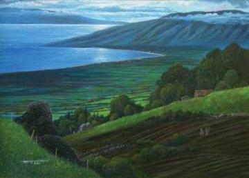 From Lower Kula (Maui) 1983 42x29 Huge Original Painting - Robert Lyn Nelson