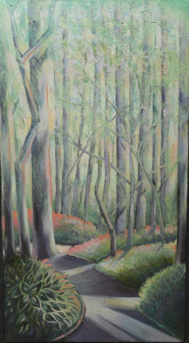 Early Spring 1984 30x16 Rare Landscape Original Painting by Lowell Blair Nesbitt