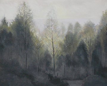 Forest Morning 1984 60x73 Super Huge (Early Landscape) Original Painting - Lowell Blair Nesbitt