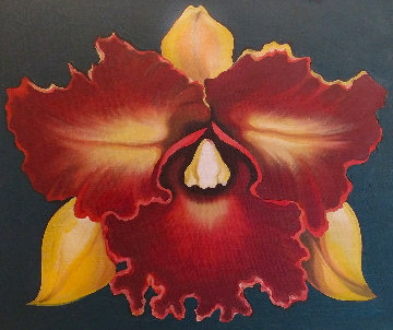 Red And Yellow Orchid 1975 23x20 Original Painting - Lowell Blair Nesbitt