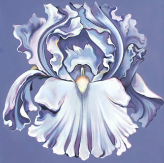 Violet Iris 1981 48x48 Original Painting - Lowell Blair Nesbitt