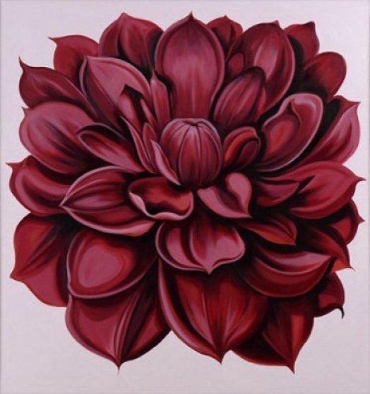 Red Dahlia 44x40 Original Painting by Lowell Blair Nesbitt