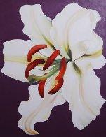 White Lily on Violet 1971 46x36 Super Huge Original Painting by Lowell Blair Nesbitt - 2