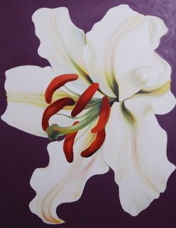 White Lilly on Violet  1971 42x33 Original Painting by Lowell Blair Nesbitt