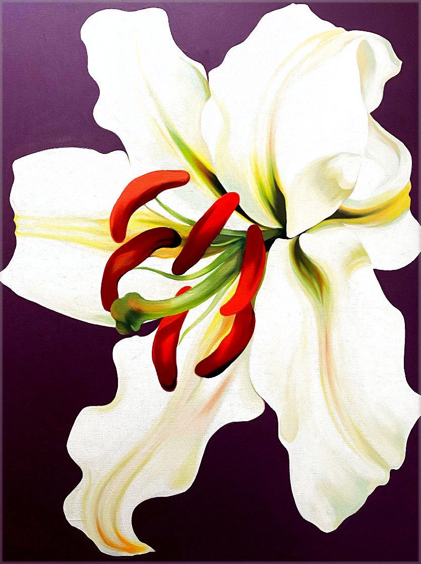 White Lily on Violet 1971 46x36 Super Huge Original Painting by Lowell Blair Nesbitt