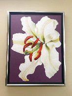 White Lily on Violet 1971 46x36 Super Huge Original Painting by Lowell Blair Nesbitt - 1