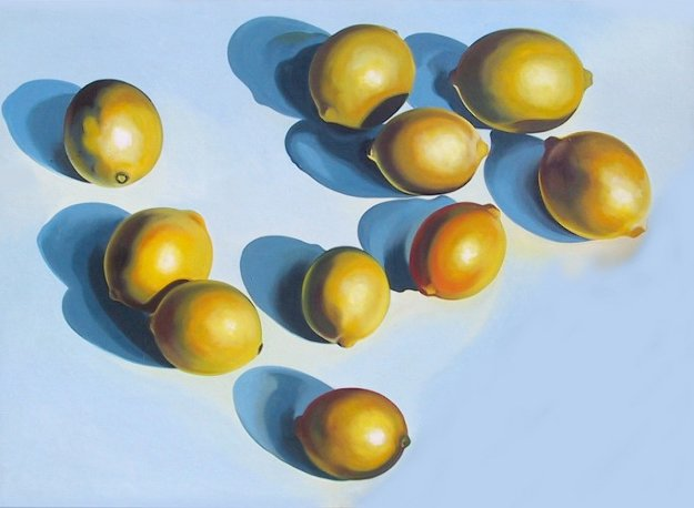Ten Lemons on Blue 1978 65x90 Original Painting by Lowell Blair Nesbitt