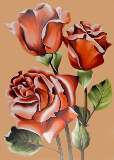 Three Pink Roses 1977 50x36 Original Painting - Lowell Blair Nesbitt