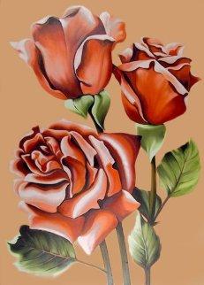 Three Pink Roses 1977 50x36 Super Huge Original Painting - Lowell Blair Nesbitt