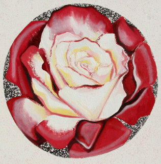 Red And White Rose 1982 26x26 Original Painting - Lowell Blair Nesbitt