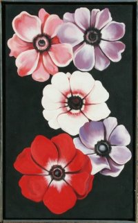 Five Anemones 1988 30x18 Original Painting - Lowell Blair Nesbitt