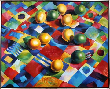 Lemons And Limes on Quilt 1988 40x49 Original Painting by Lowell Blair Nesbitt