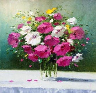 Fuscia Splash 2015 18x18 Original Painting - Gerhard Nesvadba