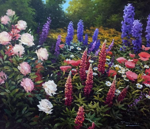 Flower Meadow 31x35 Original Painting by Gerhard Nesvadba