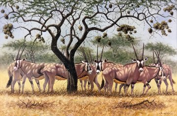 Gazelles 2000 34x46 Original Painting - Bo Newell